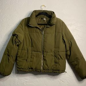 H&M Divided Olive Green Puffer Utility Jacket Women's 4